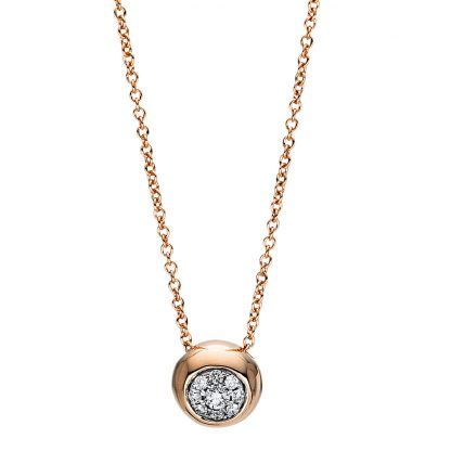18 kt red gold necklace with 9 diamonds 4F384R8-1