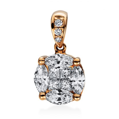 18 kt red gold pendant with 11 diamonds 3D781R8-1