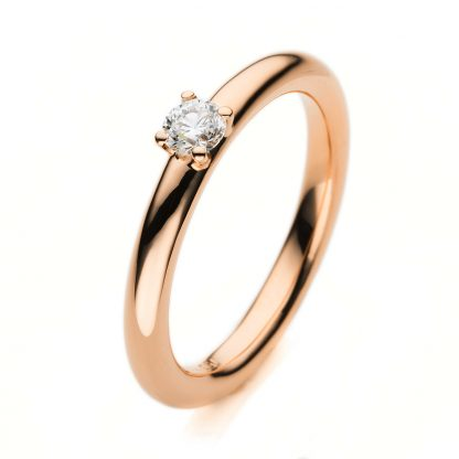 18 kt red gold solitaire with 1 diamond 1E455R853-2