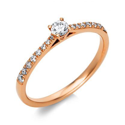 18 kt red gold solitaire with side stones with 17 diamonds 1A423R854-1