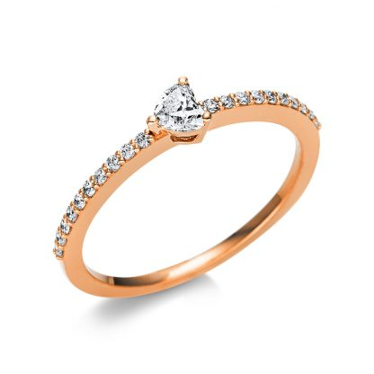 18 kt red gold solitaire with side stones with 21 diamonds 1U610R854-7