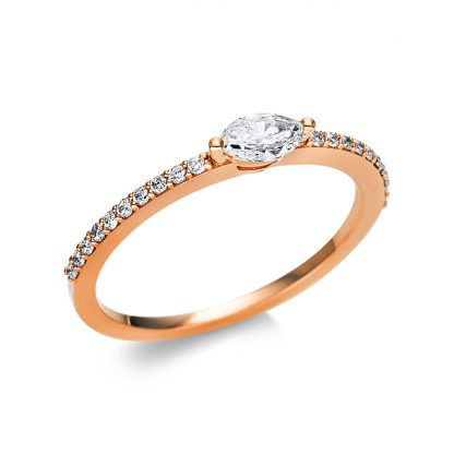 18 kt red gold solitaire with side stones with 21 diamonds 1U613R854-7