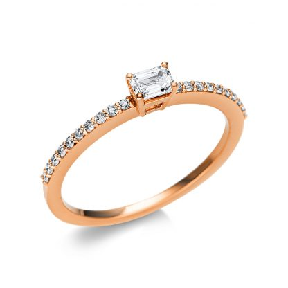 18 kt red gold solitaire with side stones with 21 diamonds 1U616R854-8