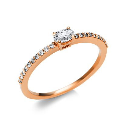 18 kt red gold solitaire with side stones with 21 diamonds 1U622R854-8
