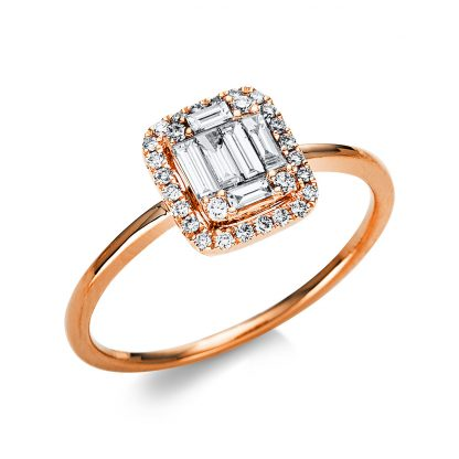 18 kt red gold solitaire with side stones with 34 diamonds 1U559R854-1