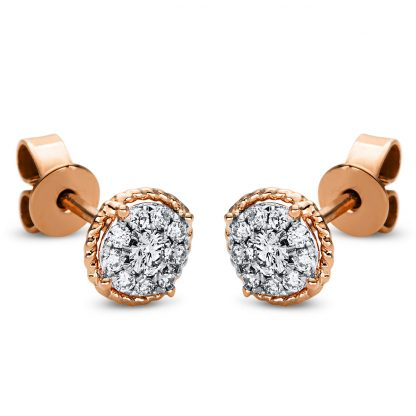 18 kt red gold studs with 20 diamonds 2I992R8-1