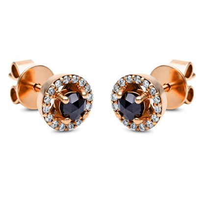 18 kt red gold studs with 34 diamonds 2I671R8-1