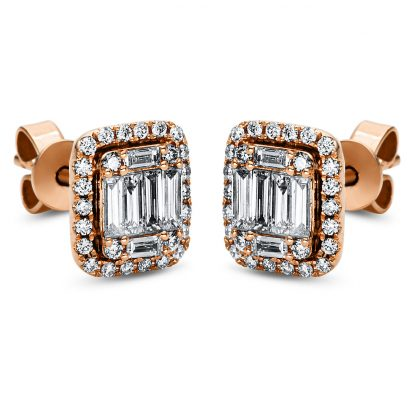 18 kt red gold studs with 64 diamonds 2J010R8-1
