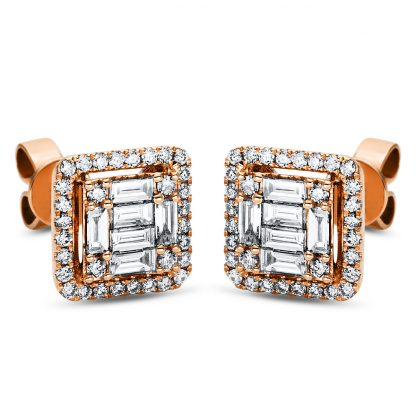 18 kt red gold studs with 76 diamonds 2J000R8-1