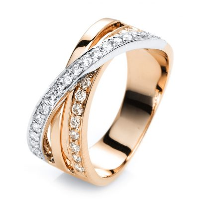 18 kt red gold / white gold multi stone with 33 diamonds 1G419RW854-2