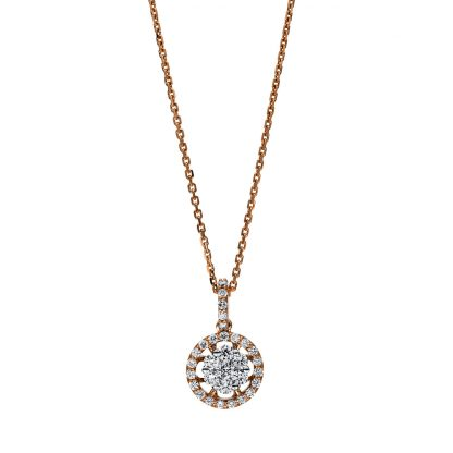 18 kt red gold / white gold necklace with 31 diamonds 4F256RW8-1