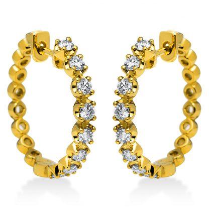 18 kt sárga arany karika és huggie 16 gyémánttal 2H642G8-1