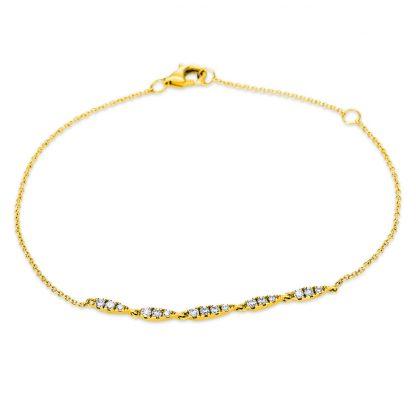 18 kt sárga arany karkötő 16 gyémánttal 5B414G8-1