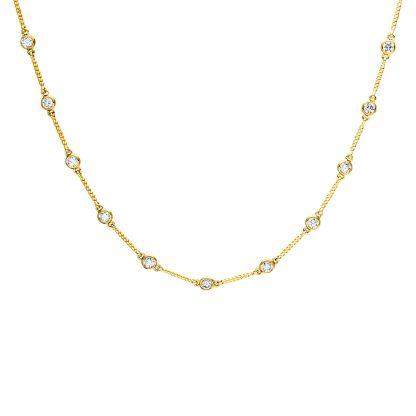 18 kt sárga arany nyaklánc 13 gyémánttal 4D570G8-1