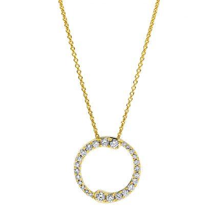 18 kt sárga arany nyaklánc 26 gyémánttal 4F387G8-1