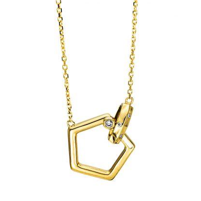 18 kt sárga arany nyaklánc 4 gyémánttal 4F499G8-1