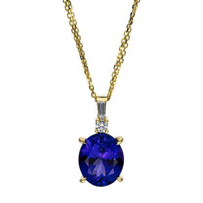 18 kt sárga arany nyaklánc 6 gyémánttal