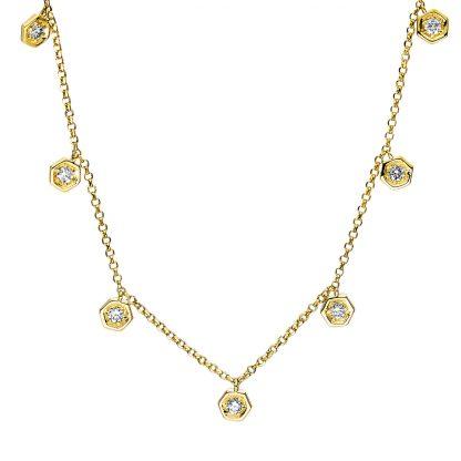 18 kt sárga arany nyaklánc 7 gyémánttal 4E898G8-1
