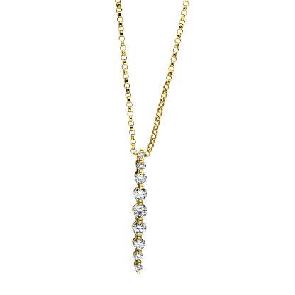 18 kt sárga arany nyaklánc 9 gyémánttal 4F443G8-1
