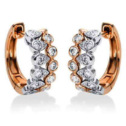 18 kt vörös arany / fehérarany karika és huggie 34 gyémánttal 2I995RW8-1