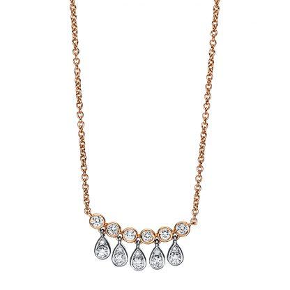 18 kt vörös arany / fehérarany nyaklánc 16 gyémánttal 4F364RW8-1