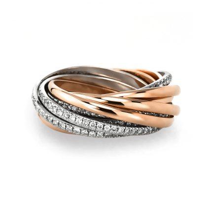 18 kt vörös arany / fehérarany több köves gyűrű 265 gyémánttal 1B439RW856-1