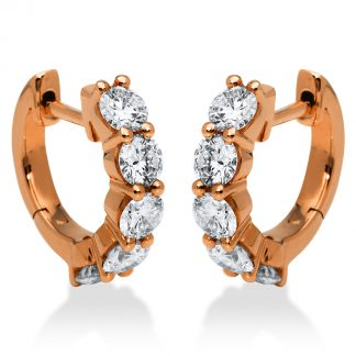 18 kt vörös arany karika és huggie 10 gyémánttal 2E286R8-1