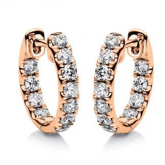 18 kt vörös arany karika és huggie 22 gyémánttal 2B234R8-3