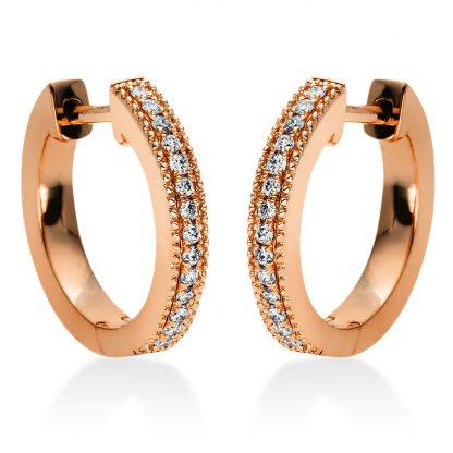 18 kt vörös arany karika és huggie 28 gyémánttal 2I985R8-1