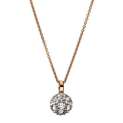 18 kt vörös arany nyaklánc 13 gyémánttal 4F458R8-1