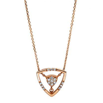 18 kt vörös arany nyaklánc 16 gyémánttal 4E222R8-1