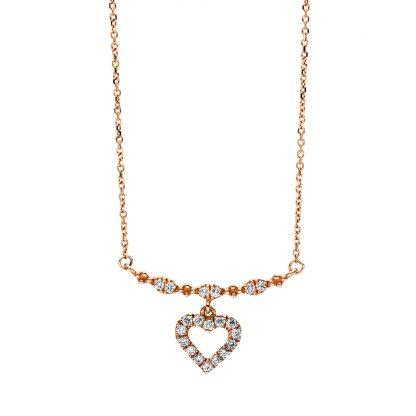 18 kt vörös arany nyaklánc 20 gyémánttal 4F506R8-1