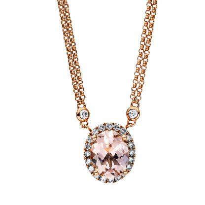 18 kt vörös arany nyaklánc 28 gyémánttal