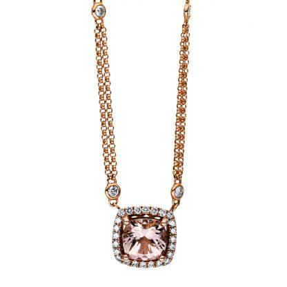 18 kt vörös arany nyaklánc 32 gyémánttal