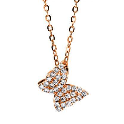 18 kt vörös arany nyaklánc 32 gyémánttal 4F501R8-1