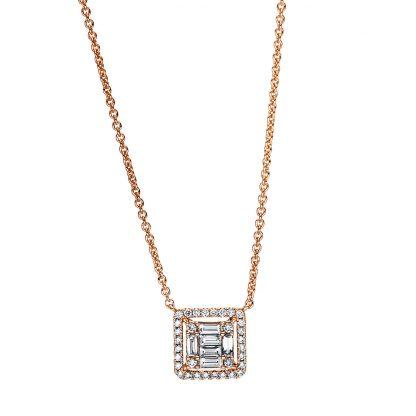 18 kt vörös arany nyaklánc 38 gyémánttal 4F379R8-1