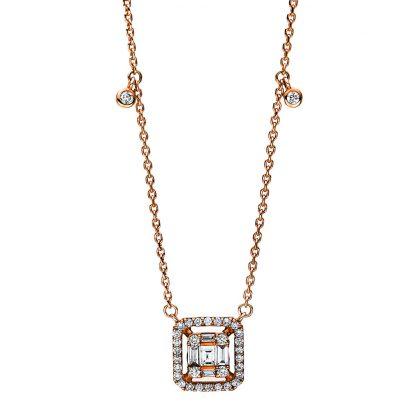 18 kt vörös arany nyaklánc 39 gyémánttal 4F099R8-1