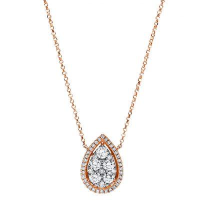 18 kt vörös arany nyaklánc 48 gyémánttal 4E756R8-1
