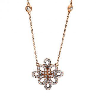 18 kt vörös arany nyaklánc 70 gyémánttal 4F457R8-1