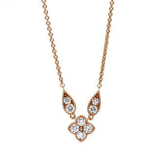 18 kt vörös arany nyaklánc 8 gyémánttal 4F165R8-1