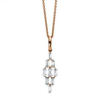18 kt vörös arany nyaklánc 9 gyémánttal 4C376R8-1