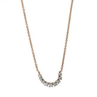 18 kt vörös arany nyaklánc 9 gyémánttal 4E506R8-1