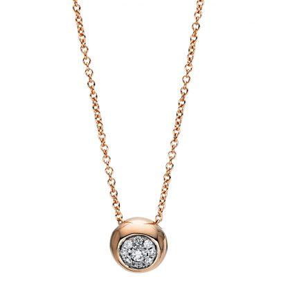 18 kt vörös arany nyaklánc 9 gyémánttal 4F384R8-1