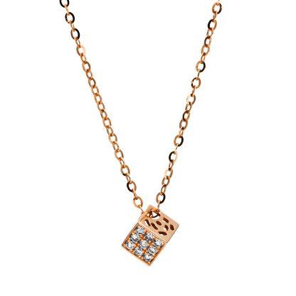 18 kt vörös arany nyaklánc 9 gyémánttal 4F504R8-1