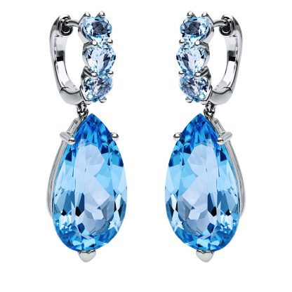 18 kt white gold earrings with 8 color stones 2I947W8-1