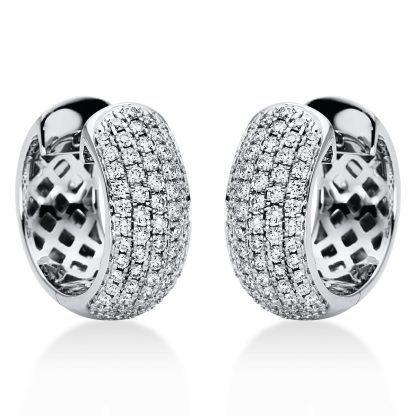 18 kt white gold hoops & huggies with 128 diamonds 2I969W8-3