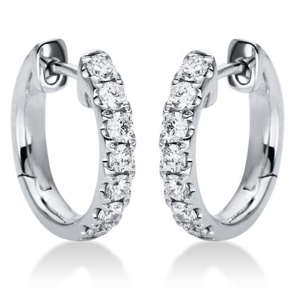 18 kt white gold hoops & huggies with 14 diamonds 2I183W8-4