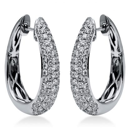 18 kt white gold hoops & huggies with 144 diamonds 2I160W8-1