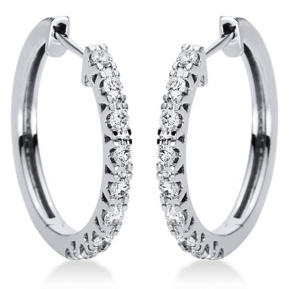 18 kt white gold hoops & huggies with 18 diamonds 2I974W8-1