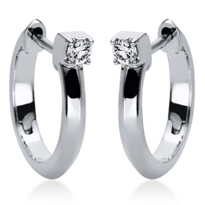 18 kt white gold hoops & huggies with 2 diamonds 2I982W8-2